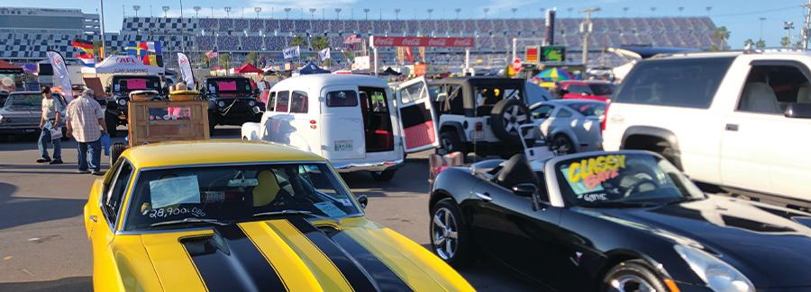 A popular spring and fall festival at Daytona International Speedway, the Daytona Turkey Run brings attracts thousands of car enthusiasts