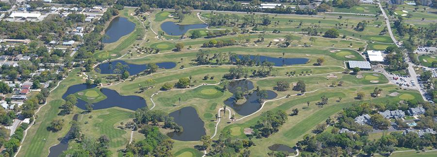 An aerial view of the beautiful Daytona Beach Golf Club