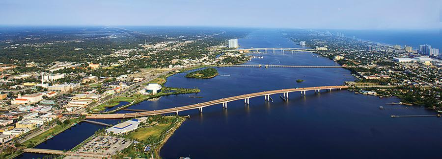 Aerial view of International Speedway Boulevard Bridge