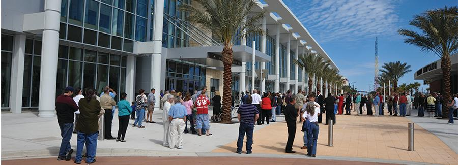 Meeting attendees enjoy the outdoor space at the Ocean Center, Florida's fifth largest convention center in Daytona Beach