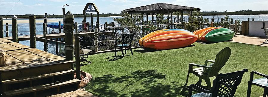 Colorful kayaks are available for rent to explore Ponce Inlet