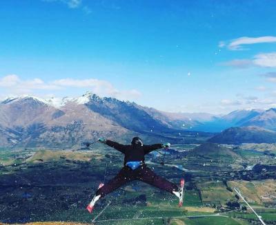 Skier Posing Mid-air