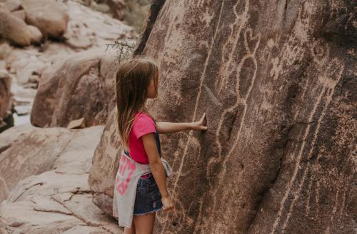 Girl on Hieroglyphic Trail Superstition Mountain Wilderness Family Hiking