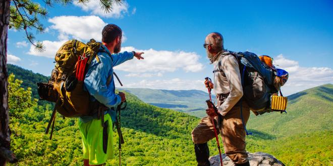 Hikers near Roanoke enjoying the view of the Blue Ridge Mountains