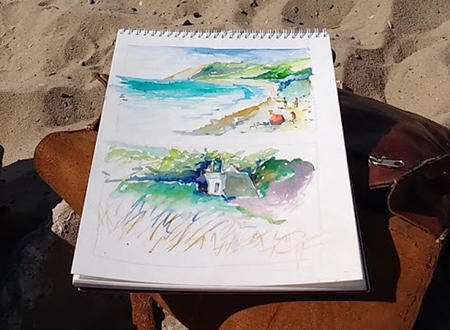 Adam VanHouten Painting on a Beach