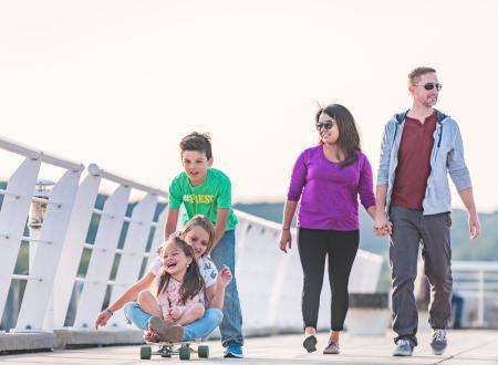 Family Walking the Pier