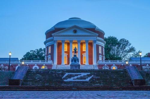 Rotunda & Jefferson statue at dusk