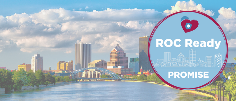 ROC Ready Promise Badge Over Rochester Skyline