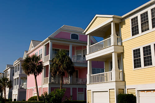 Pink and yellow beach home in Garden City Beach