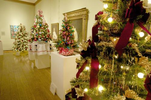 Holiday Trees decorated in a row at the Everson Museum's Festival of Trees