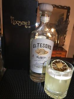 Cocktail and El Tesoro blanco tequila at The Roosevelt Room in Austin Texas