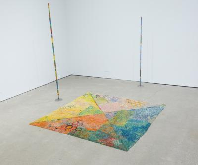 Colorful art installation on floor of CCAD's Beeler Gallery