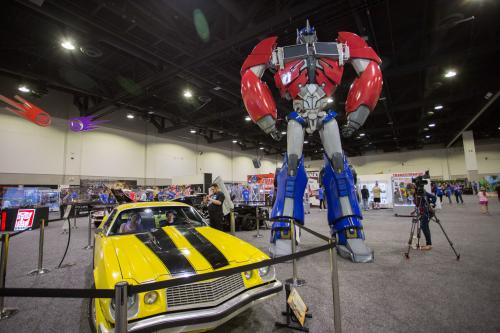 Transformers Bumble Bee car and Optimus Prime at HASCON Providence