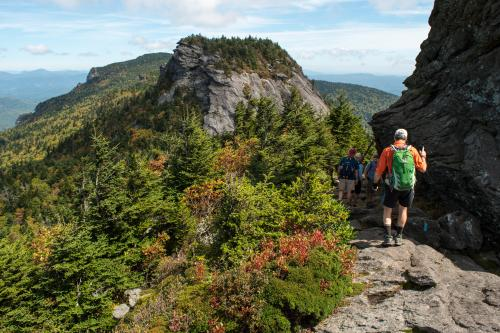 Hikers on the challenging Grandfather Mountain Trail
