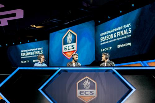 Analyst desk with three people at Esports Stadium Arlington