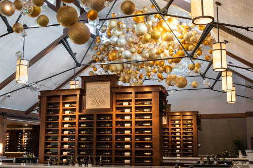 The Biltmore Winery tasting room decorated for Christmas at Biltmore.