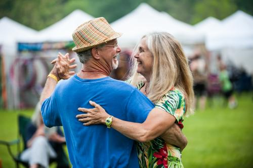 A couple dances at the LEAF Festival in Black Mountain, NC