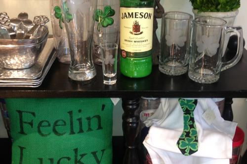 "Irish themed items for sale at Boho 72 Boutqiue including Irish mugs, baby onesies, ""Feelin' Lucky"" pillow, and more."