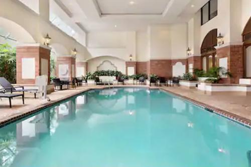 The indoor pool at Embassy Suites in Irving, Texas.