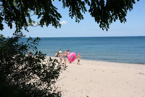 Carol Beach Lake Michigan with family and pink floaty
