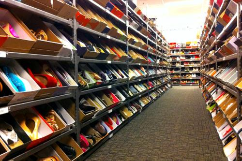 A long line of shoe racks