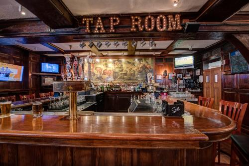 a view of the bar at the Tap Room at the nassau inn