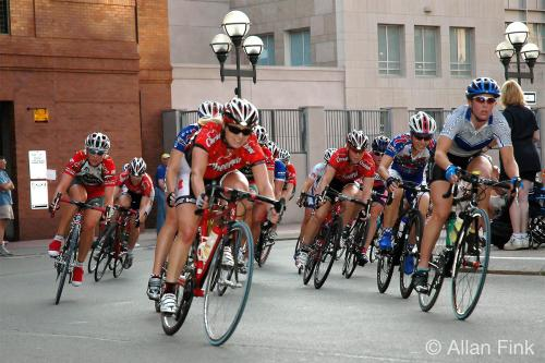 Cyclists Competing in the Rochester Twilight Criterium