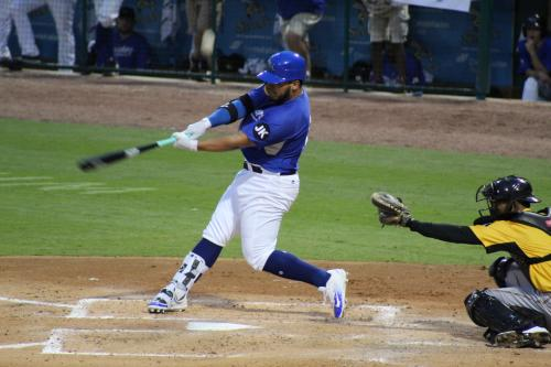 Sugar Land Skeeters player up to bat during a game.