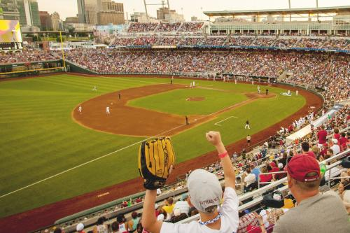 Stadium Full of Baseball Spectators at the College World Series
