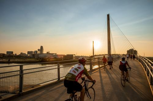 Riding Bikes on the Bob Kerrey Pedestrian Bridge