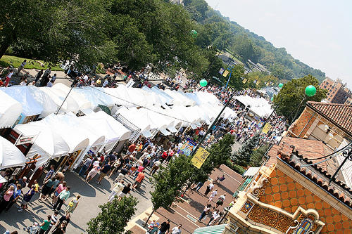 Aerial view of the Plaza Art Fair tents and shoppers in Overland Park