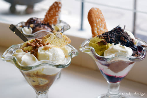 Ice cream sundaes from Coppe at Eataly in Chicago