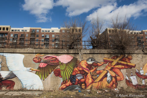 Gaia's Quetzalcoatl and the Stork Mural in Pilsen, Chicago