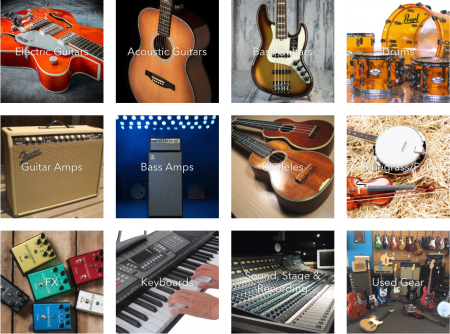 Grid of guitars, drums, bass amps, guitar amps, violin, keyword, and stage equipment from Maxwell House of Music