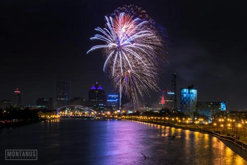 New Year's Eve (NYE) Fireworks Downtown Skyline