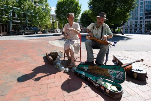 Two Buskers in Pack Square