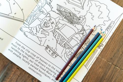 coloring book with pencils