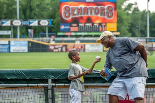 Harrisburg Senators Baseball Boy and Grandfather