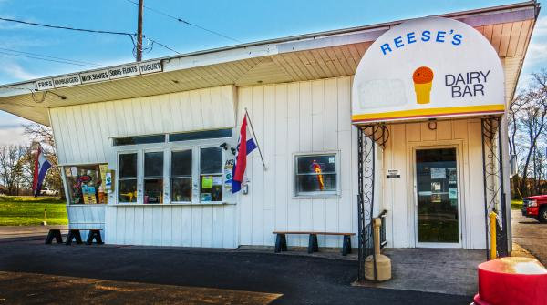 Exterior view of Reese's Dairy Bar in Auburn NY - stop by for awesome homemade ice cream
