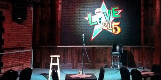 An empty stage at the Loony Bin in Wichita