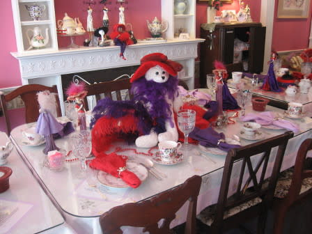 table set with china and decorations inside of mrs teapots tea room in bellevue ky