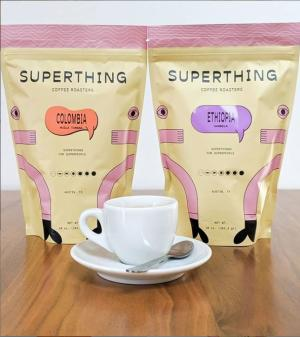 Bags of Colombian and Ethiopian coffees from Superthing Coffee in Austin Texas