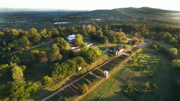 Aerial photo of Monticello property