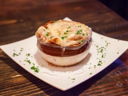 Look at all that melted cheese in the French Onion Soup from Black Trumpet Bistro!