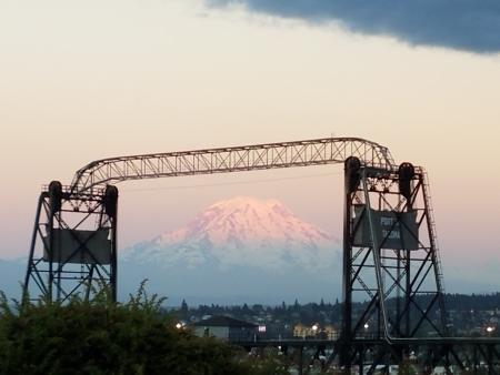 Murray Morgan Bridge in Tacoma, Washington, with Mount Rainier in the background