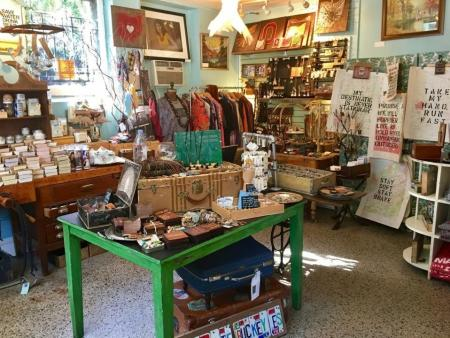 View inside Glean, shop filled with antique and handmade goods