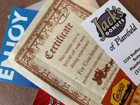 Plainfield gift certificates