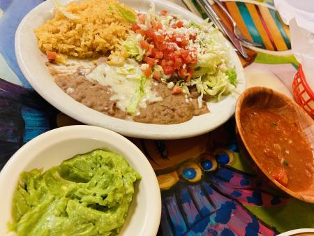 Tostada, guacamole, salsa, mexican food, el patio, Mexican