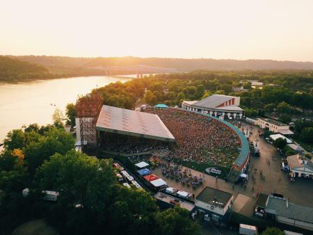 aerial photo of riverbend, an outdoor music venue in cincinnati oh overlooking the ohio river