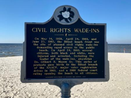Biloxi Wade Ins historical marker - Discover Coastal Mississippi's African American Heritage